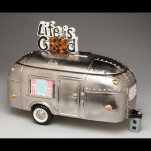 Ceramic of a trailer with 'life is good' on top