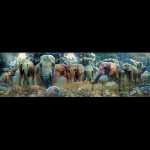 Digital artwork of elephants