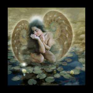 Digital art of a women with wings in a pond