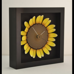 Artwork of a sunflower as a clock
