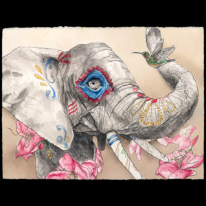 Drawing of an elephant with colors