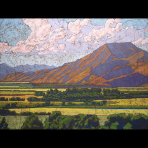 Pastel drawing of mountains near a field