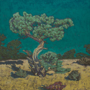 Pastel work of a tree in a field