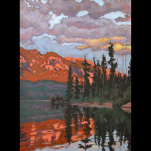Drawing/pastel of artwork near the mountains on a lake
