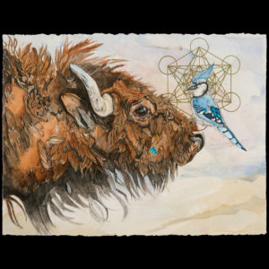 Drawing of a buffalo and a bird sitting