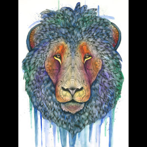 Pastel and drawing of a lion