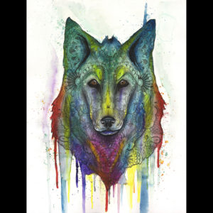Drawing and pastel of a wolf