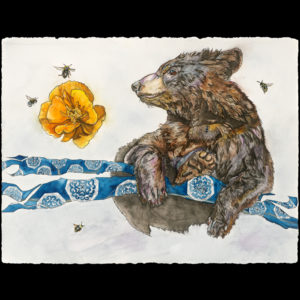 Pastel drawing of a bear near a flower and bees