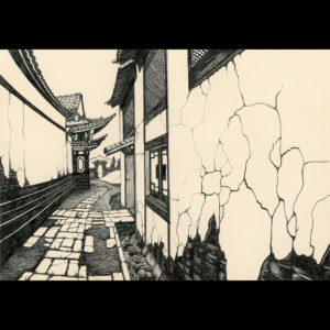 Drawing of an alleyway
