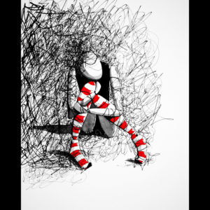 Drawing of an abstract person surrounded by lines and red and white socks