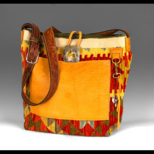 Western style purse with yellow and red