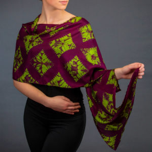 Shawl with green and purple