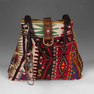 Purse with red, black, and green