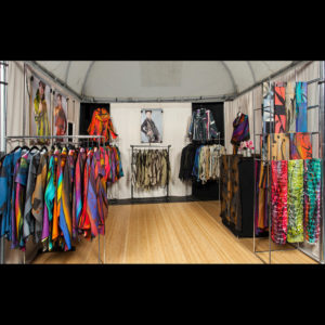 Women's clothing on display