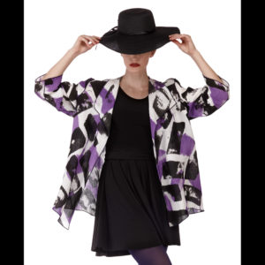 Women's Purple and black jacket with a black dress