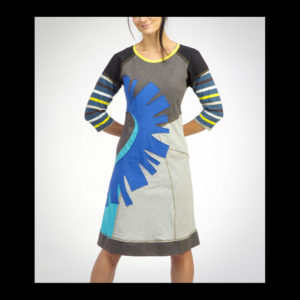 Women's dress with blue and green