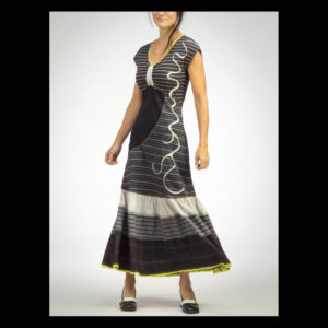 Women's dress with with black and white