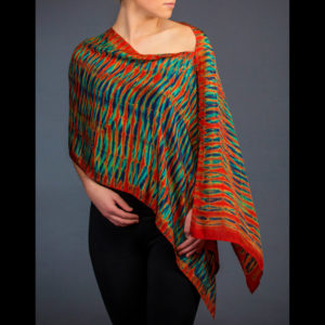 Women's scarf with red, green, and blue