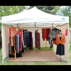 Women's shawls and scarfs on display