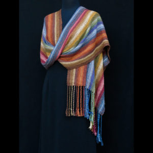 Scarf with blue, yellow, orange