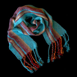 Scarf with blue, red, and orange