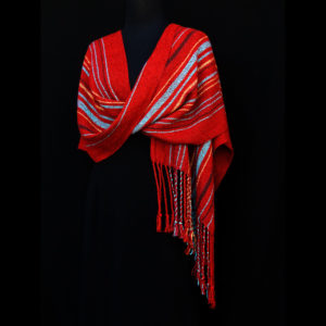 Women's shawl with red and blue