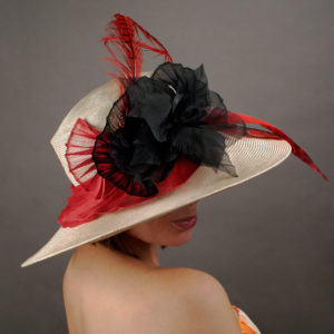 Women's sun hat with red and black bow