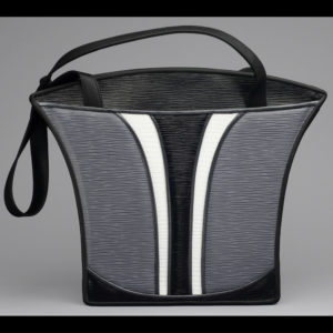 Black purse with gray and white
