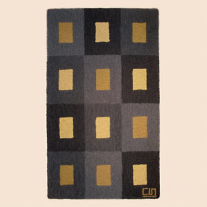 Fiber rugs with gray, gold, and black