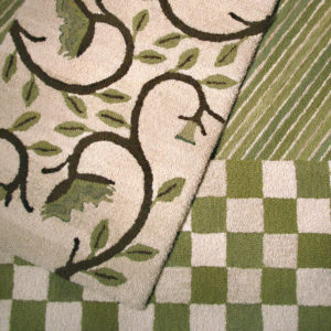 Fiber rugs with green and white