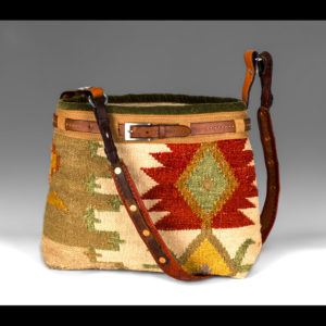 Western style purse with red and tan