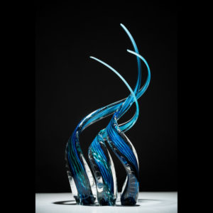 Glass sculpture with blue and black