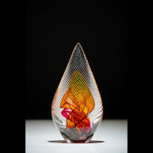 Glass sculpture with red and yellow