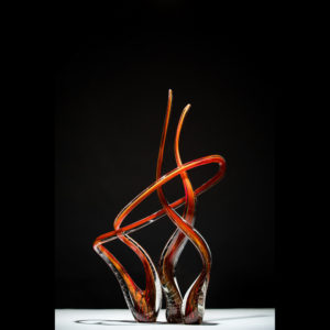 Glass red and black sculpture