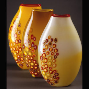Yellow glass vases