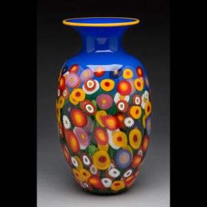 Blue vase with flowers