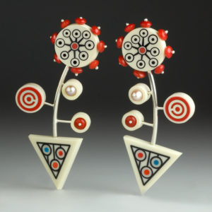 Red, blue, and white earrings