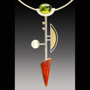 Silver necklace with gold, red, and green