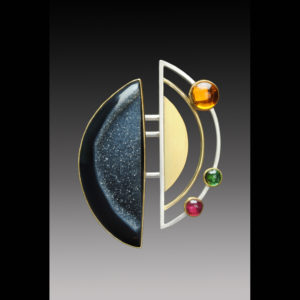 Gold earrings with mixed metals and stones