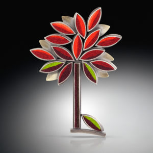 Pendant with red and green tree