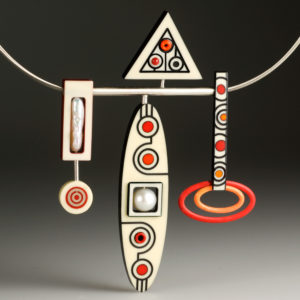 Necklace with red and black shapes