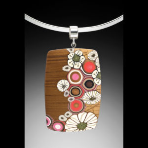 Brown necklace pendant with flowers