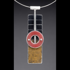 Silver pendant necklace wit black, red, and yellow