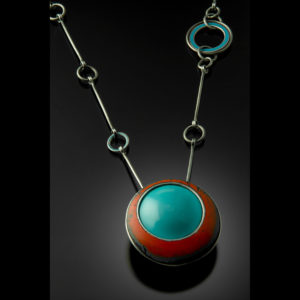 Silver necklace with turquoise and red pendant