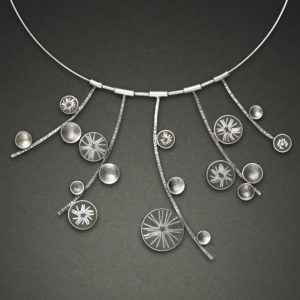 Silver necklace with circle pendants