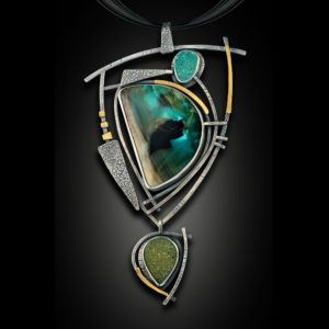 Silver pendant with green and blue stones