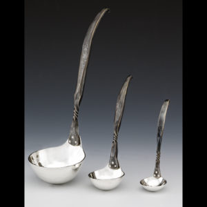 Metal spoons with three different sizes