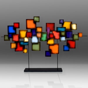 Metal art sculpture with colored squares