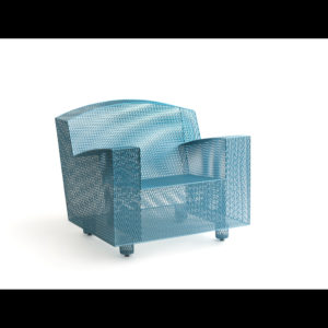 Blue chair made of metal