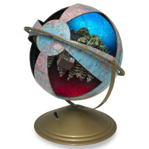 A painted globe with different scenes